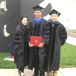 Dr. Lai, Dr. Cheung, and Socrates attended the Spring 2013 hooding ceremony.