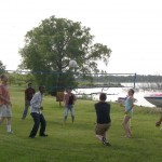 Socrates and Ehsan playing volleyball with Dr. Dussault and Dr. Powers at the 2011 PLU Picnic.