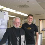 Prof. Alan Heeger stopped by the Lai Lab during his visit to UNL for the dedication ceremony of the new Physics building (Jorgensen Hall)!  Here is Thomas with Prof. Heeger!