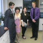 Ehsan, Yao, Dr. Lai and Thomas took pictures before the 2012 Hamilton Banquet.