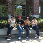 Jennifer, Socrates, Yao and Weiwei enjoying Nebraska Dairy Store ice-cream outside the student union.