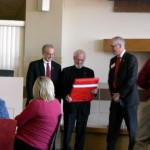Prof. Alan Heeger receiving a gift from Chancellor Perlman and Dean Manderscheid at the Jorgensen Hall Dedication luncheon in Oct 2010.