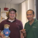 Our NSF REU undergraduate student Josh and his mentor Socrates.