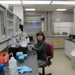 Weiwei on her last day of work in the Lai Lab (Dec 14, 2011).  This lab bench has been Weiwei's work space for the last 3+ years!  We will miss her!