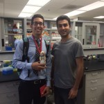 Our 2015 REU student Yamil and his mentor Hamid on his last day in the lab. He received the signature Lai Lab prairie dog!
