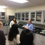 Arin giving WoPhyS attendees a tour of the Lai Lab.
