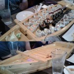 The Lai Lab celebrated Dr. Lai's award with sushi (before and after)!