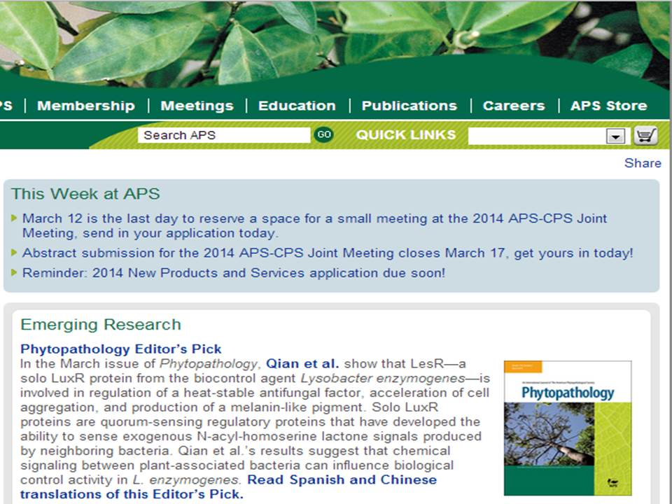 Phytopathology Editor's pick of the March 2014 issue